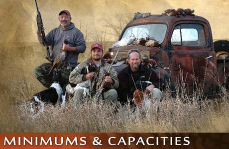 Minimums and Capacities at UGUIDE South Dakota Pheasant Hunting